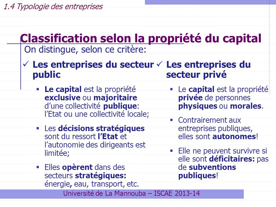 Classification selon la propriété du capital