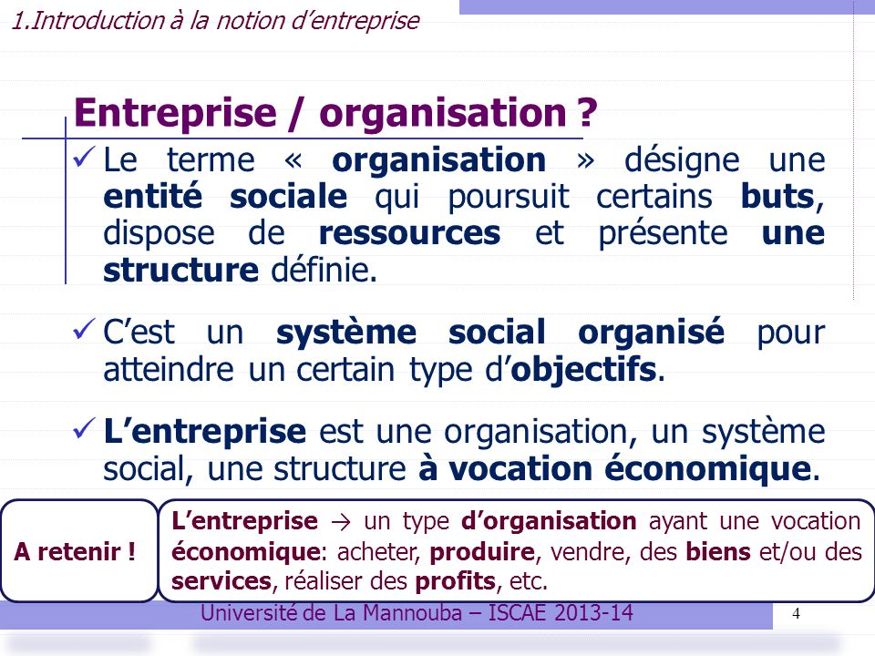 Entreprise / organisation