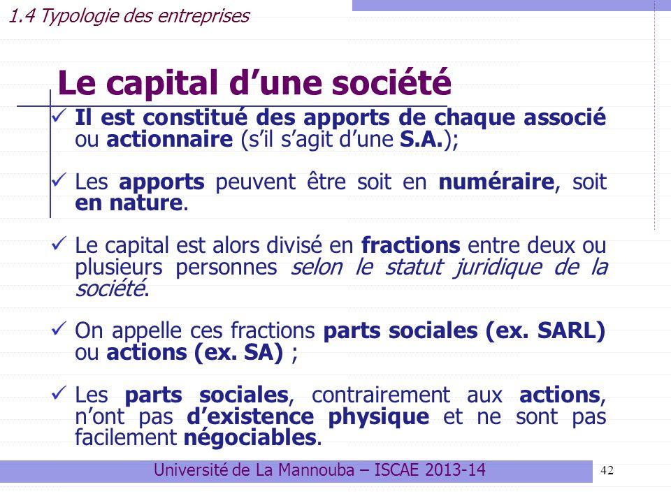 Le capital d'une société