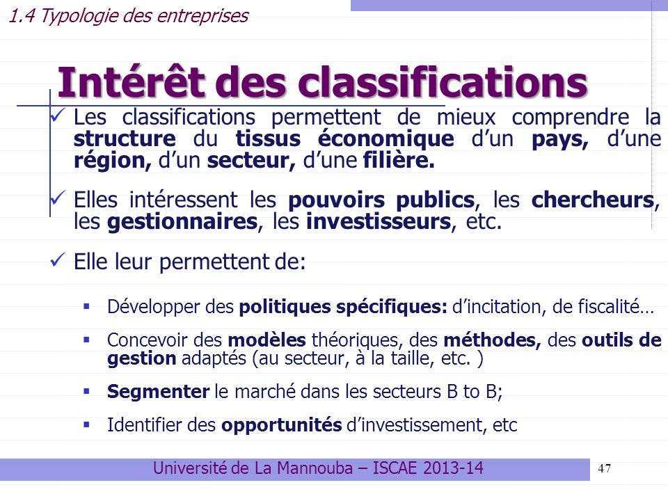 Intérêt des classifications