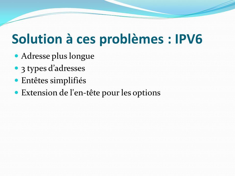 Solution à ces problèmes : IPV6