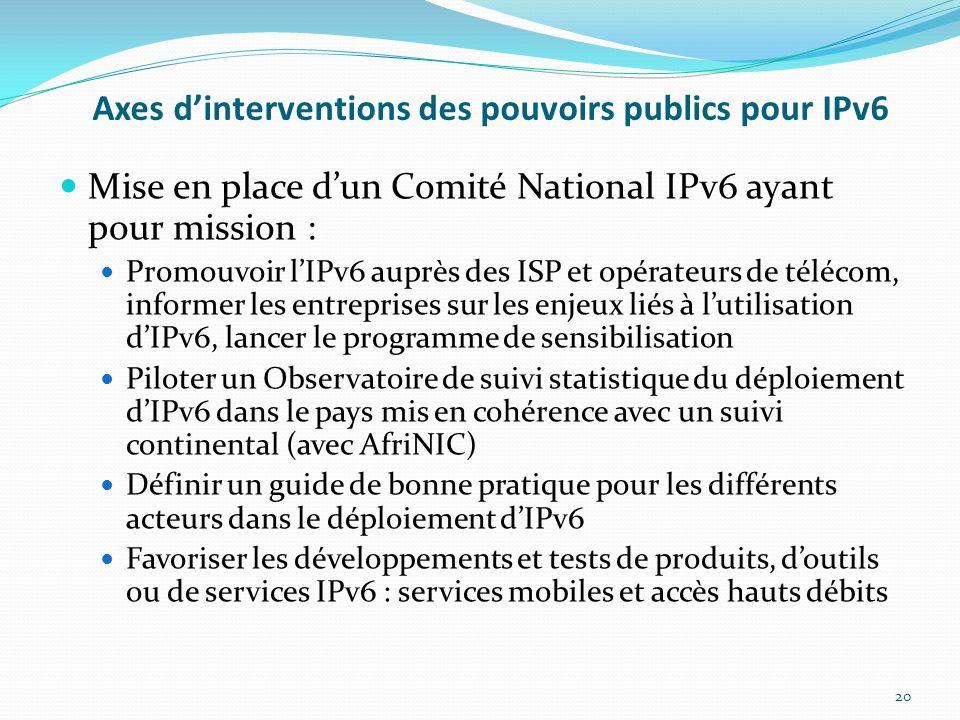 Axes d'interventions des pouvoirs publics pour IPv6