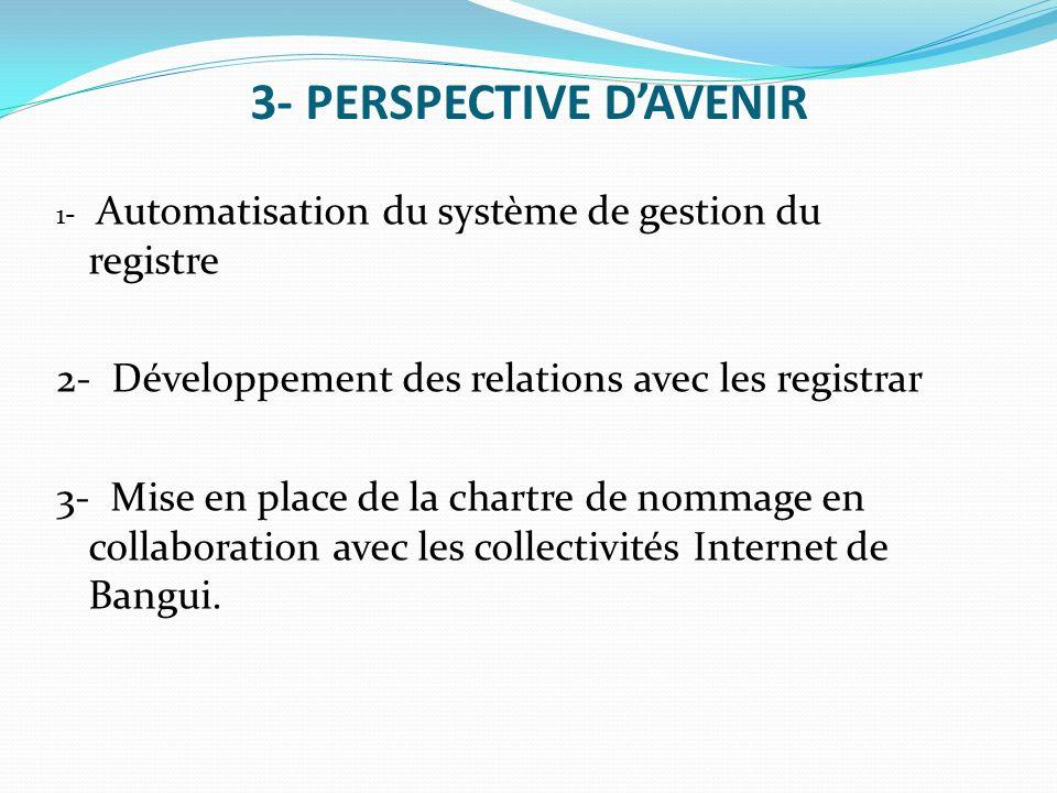 3- PERSPECTIVE D'AVENIR