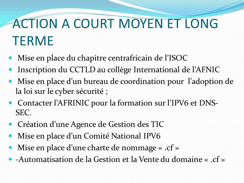ACTION A COURT MOYEN ET LONG TERME