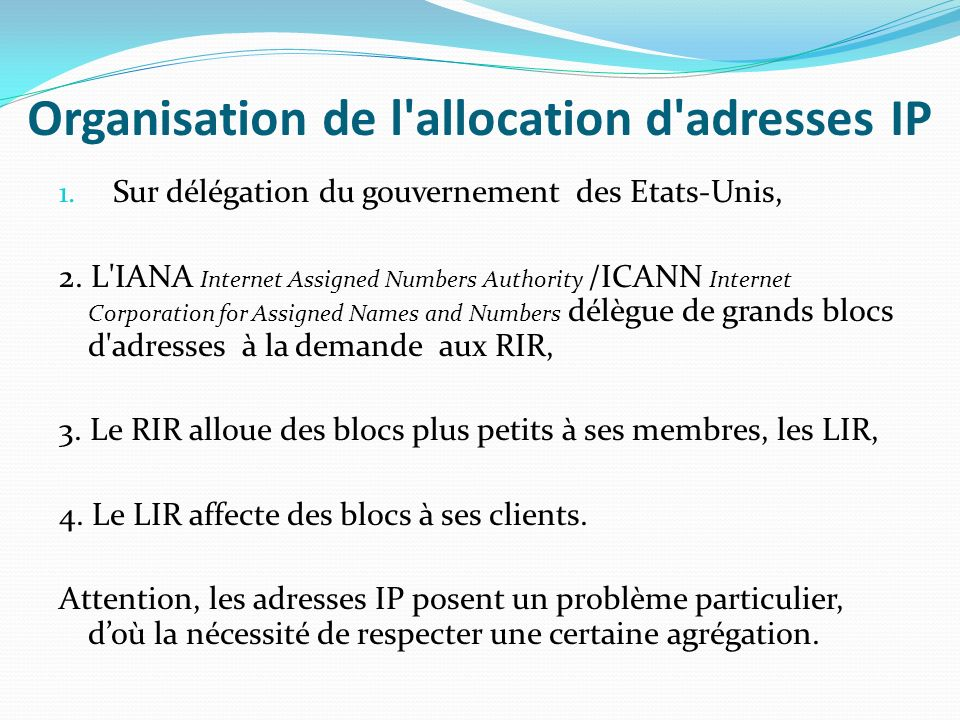 Organisation de l allocation d adresses IP