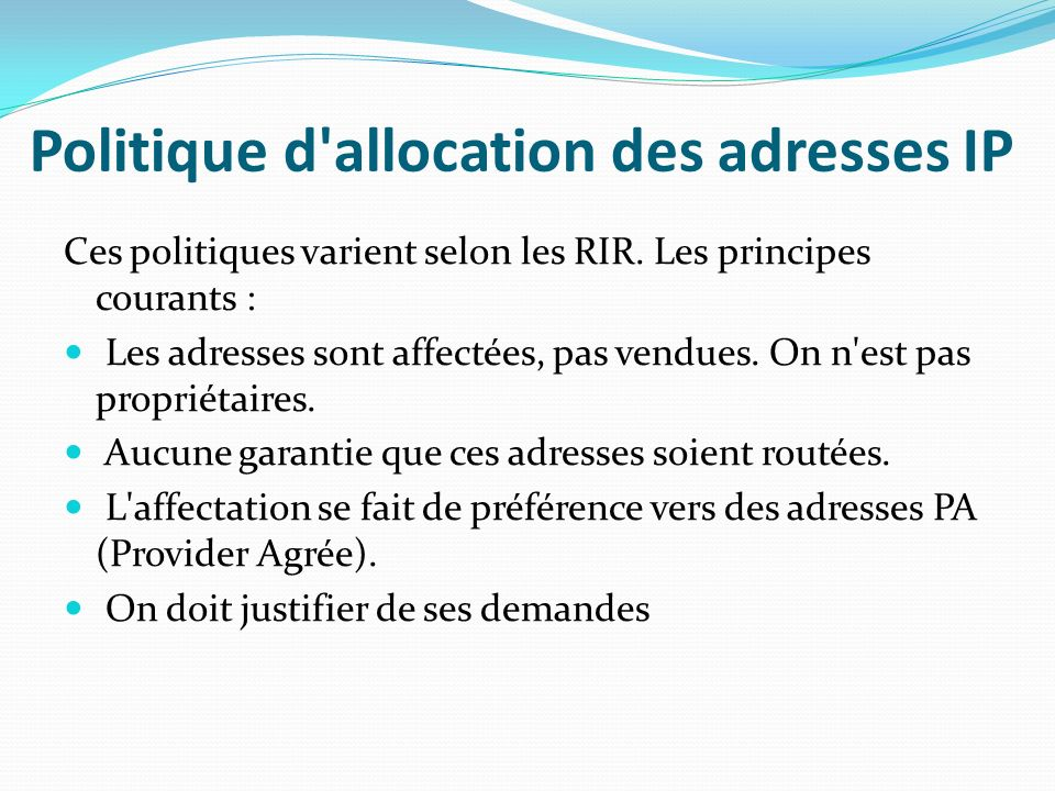 Politique d allocation des adresses IP