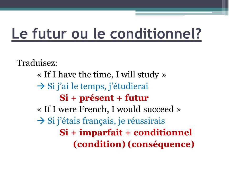 Le futur ou le conditionnel