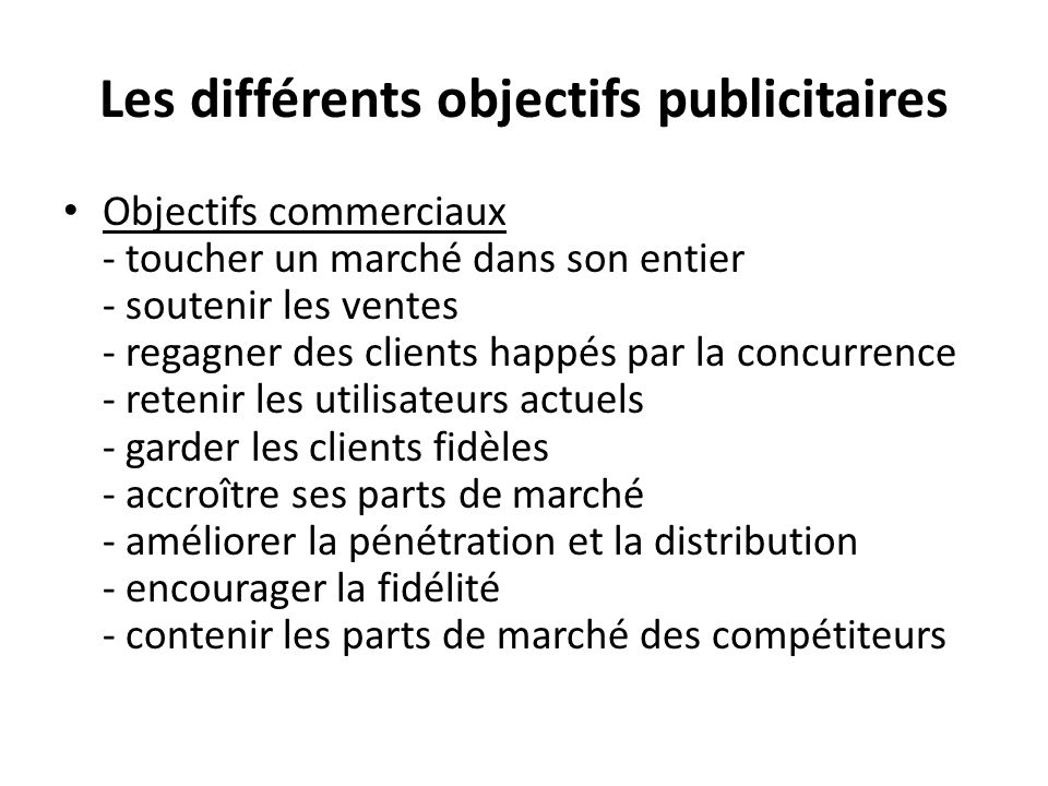 Les différents objectifs publicitaires