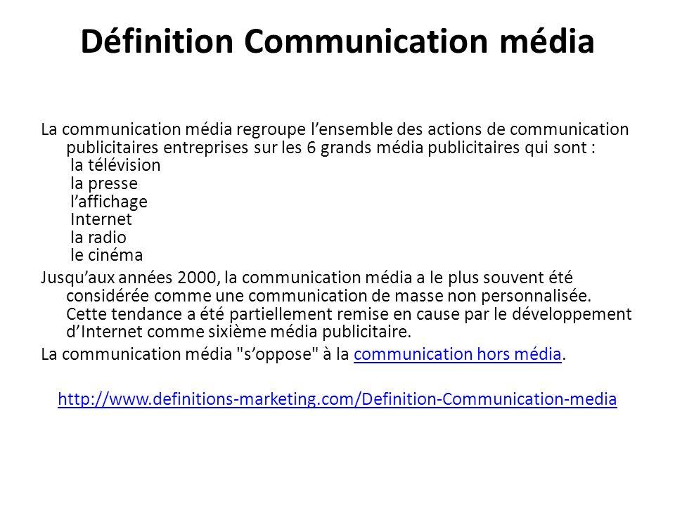 Définition Communication média