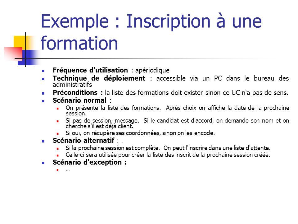 Exemple : Inscription à une formation