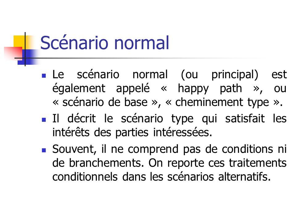 Scénario normal Le scénario normal (ou principal) est également appelé « happy path », ou « scénario de base », « cheminement type ».