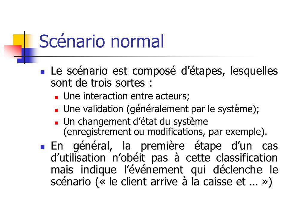 Scénario normal Le scénario est composé d'étapes, lesquelles sont de trois sortes : Une interaction entre acteurs;