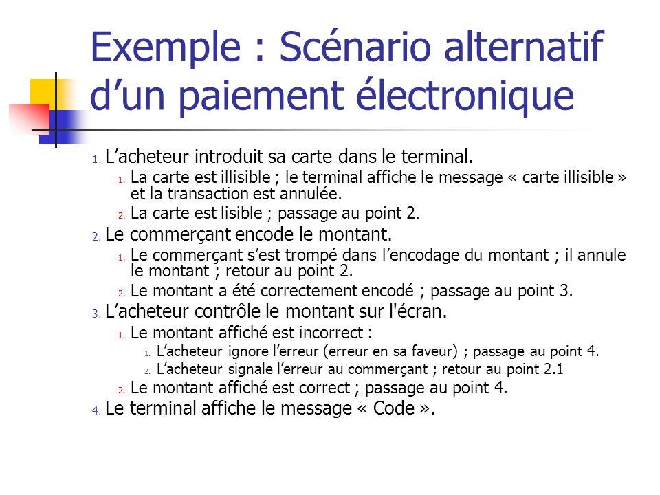Exemple : Scénario alternatif d'un paiement électronique