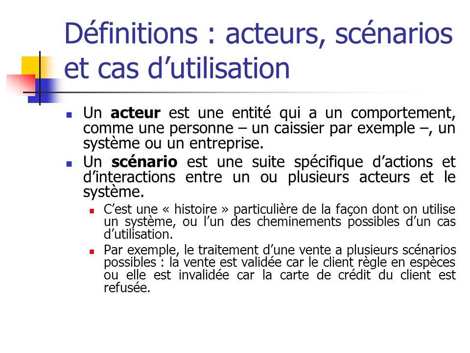 Définitions : acteurs, scénarios et cas d'utilisation
