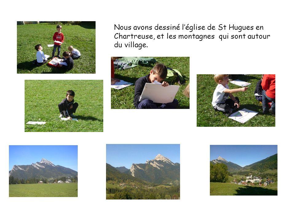 Nous avons dessiné l'église de St Hugues en Chartreuse, et les montagnes qui sont autour du village.