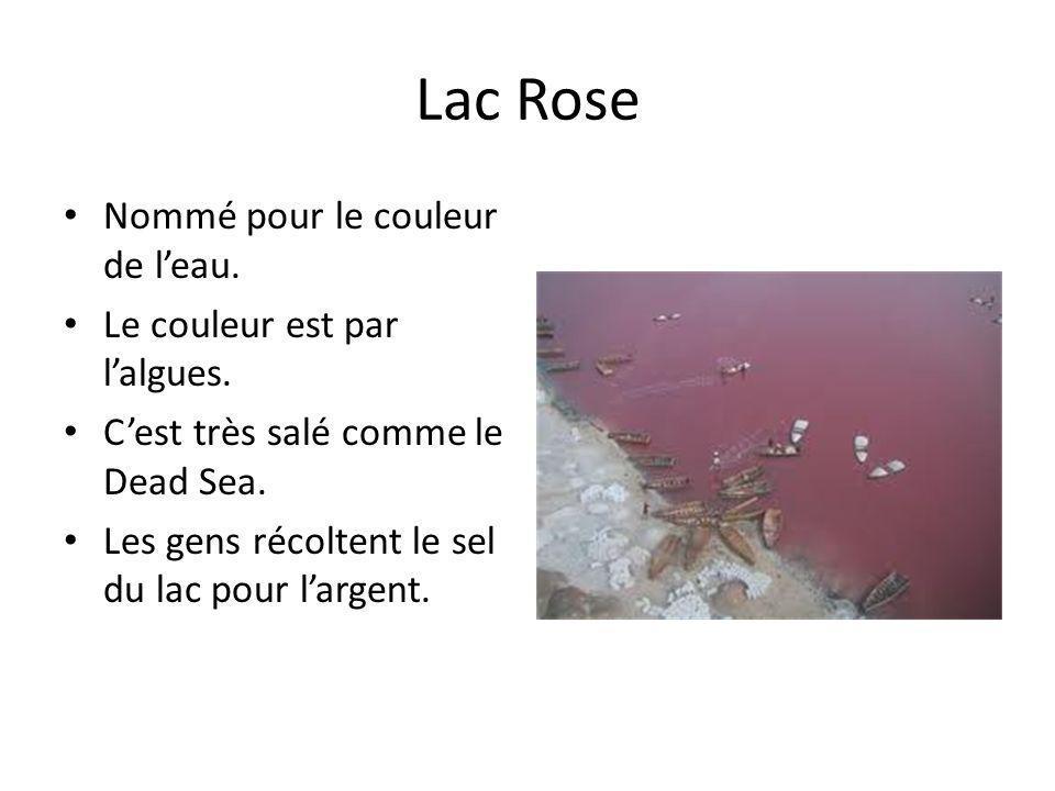 Lac Rose Nommé pour le couleur de l'eau. Le couleur est par l'algues.