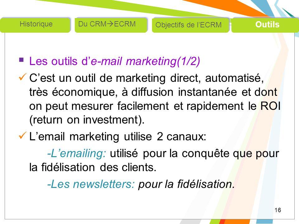 Les outils d'e-mail marketing(1/2)