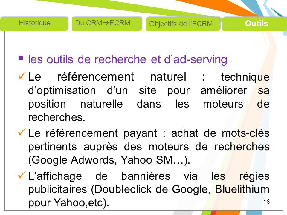 les outils de recherche et d'ad-serving
