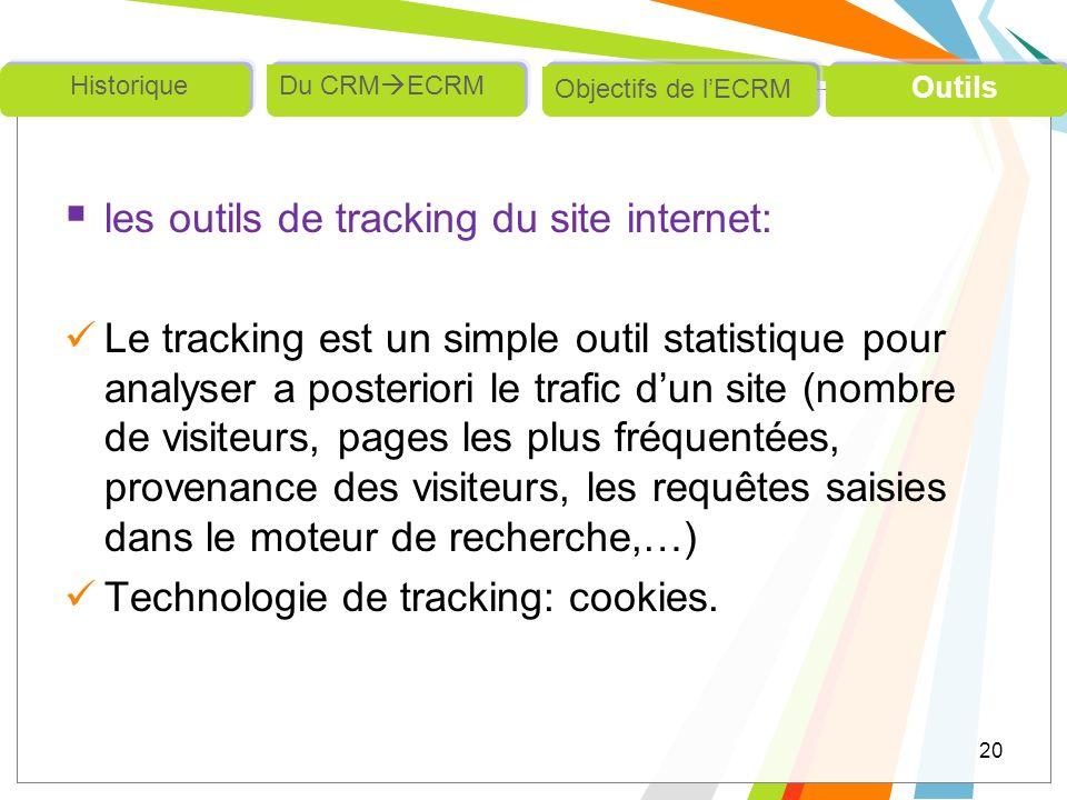 les outils de tracking du site internet: