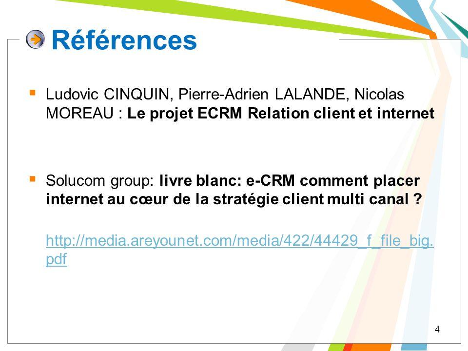 Références Ludovic CINQUIN, Pierre-Adrien LALANDE, Nicolas MOREAU : Le projet ECRM Relation client et internet.