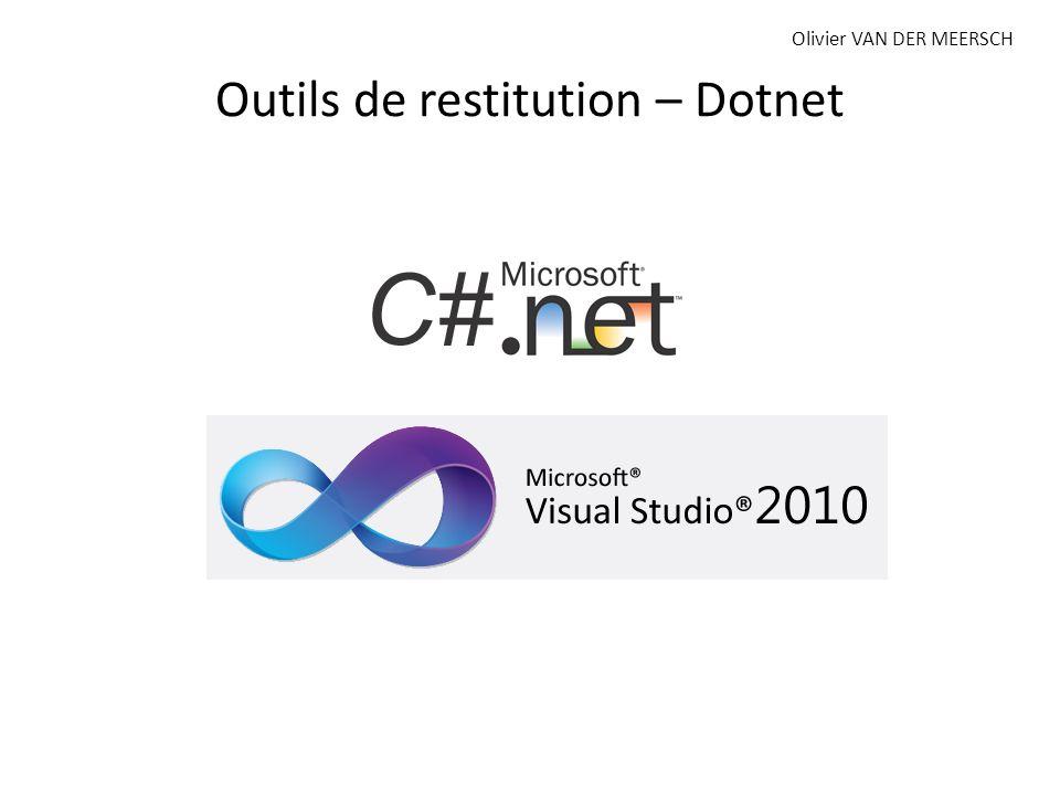 Outils de restitution – Dotnet