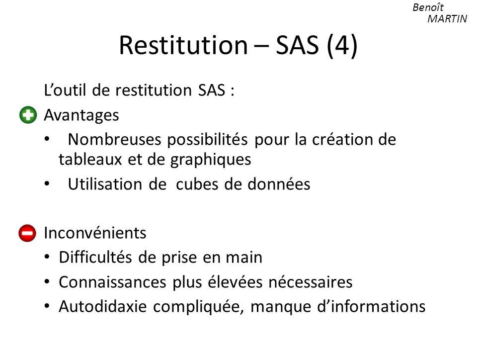 Restitution – SAS (4) L'outil de restitution SAS : Avantages