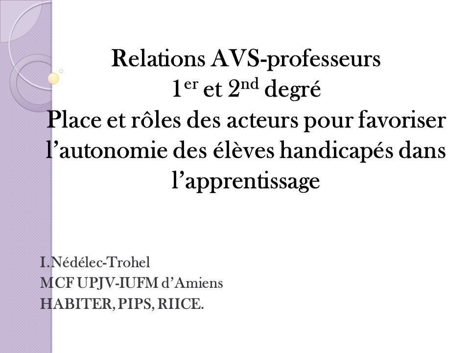 I.Nédélec-Trohel MCF UPJV-IUFM d'Amiens HABITER, PIPS, RIICE.