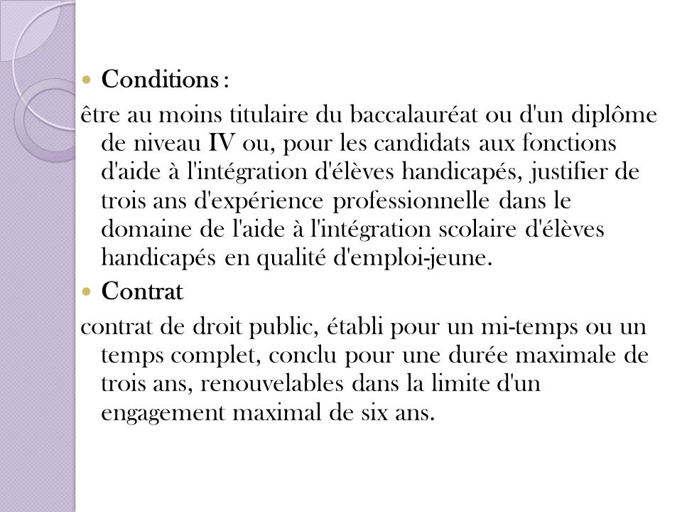 Conditions :