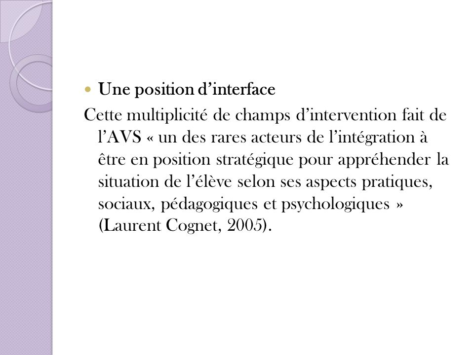 Une position d'interface