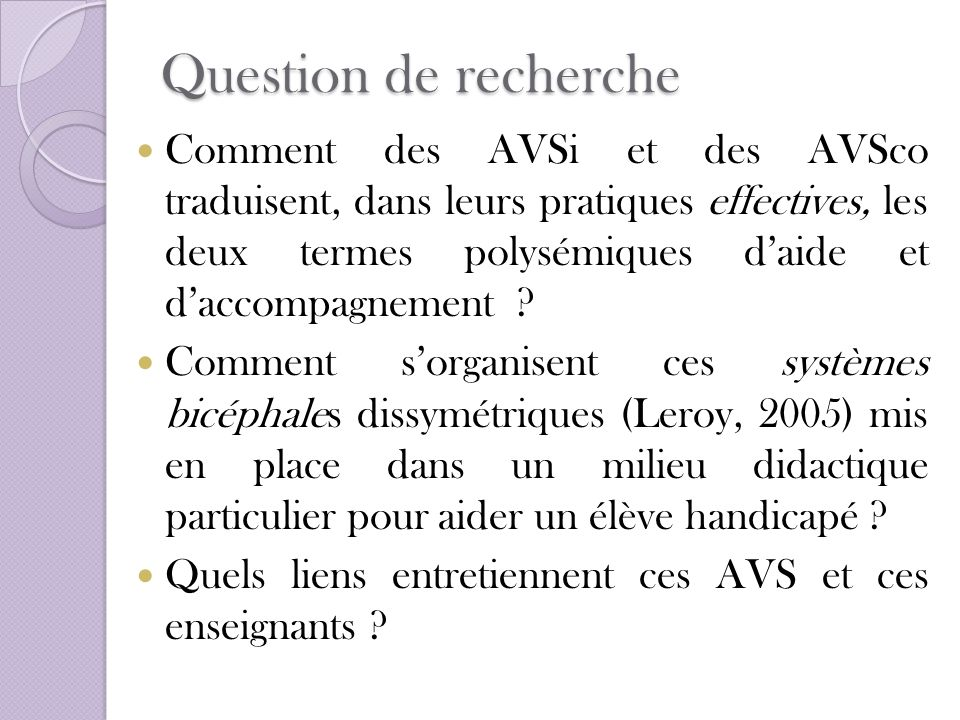 Question de recherche