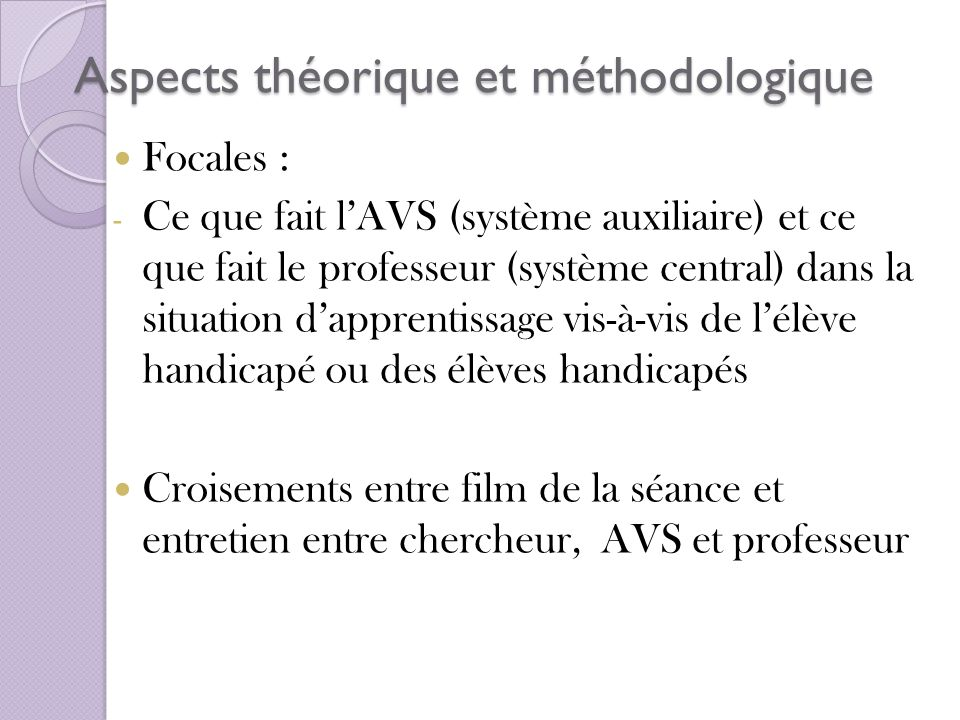 Aspects théorique et méthodologique