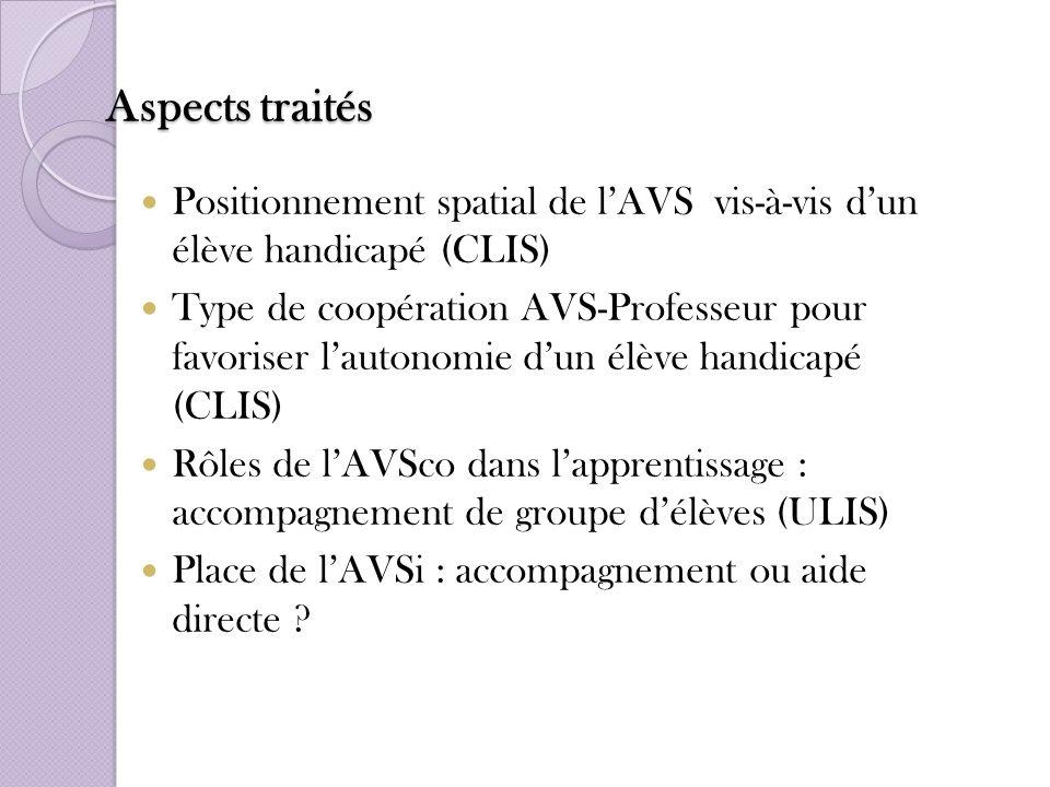 Aspects traités Positionnement spatial de l'AVS vis-à-vis d'un élève handicapé (CLIS)