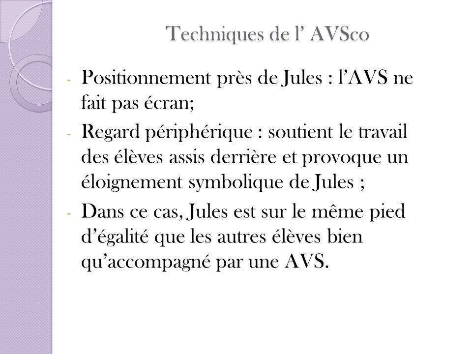 Techniques de l' AVSco Positionnement près de Jules : l'AVS ne fait pas écran;