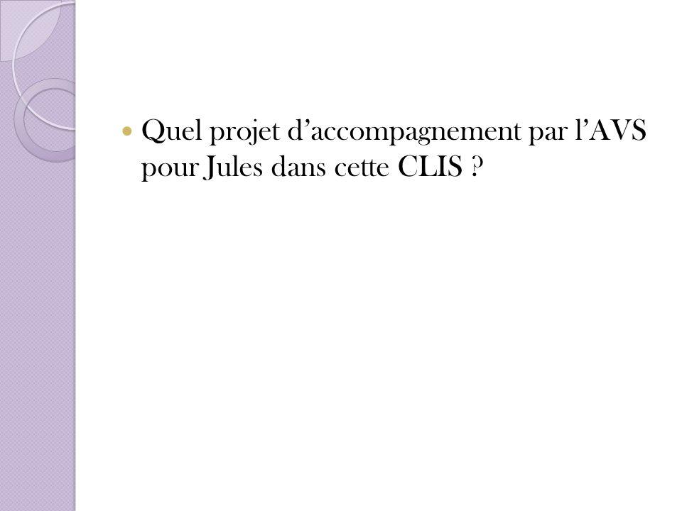 Quel projet d'accompagnement par l'AVS pour Jules dans cette CLIS