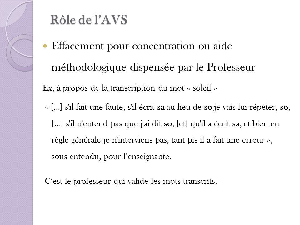 Rôle de l'AVS Effacement pour concentration ou aide méthodologique dispensée par le Professeur. Ex, à propos de la transcription du mot « soleil »