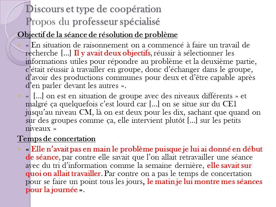 Discours et type de coopération Propos du professeur spécialisé