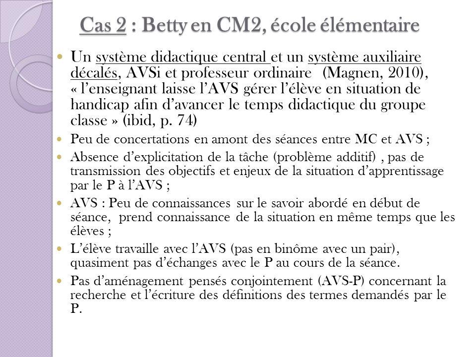 Cas 2 : Betty en CM2, école élémentaire