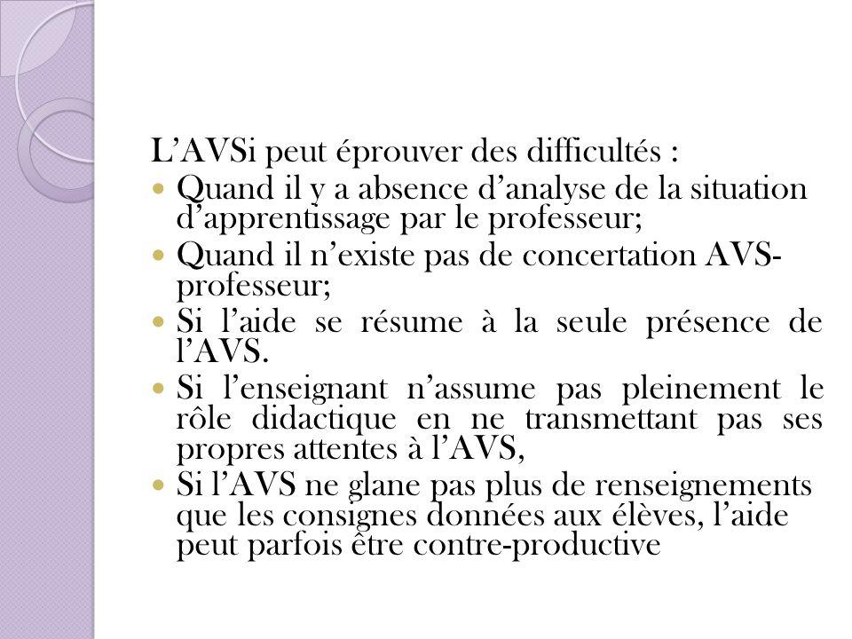 L'AVSi peut éprouver des difficultés :