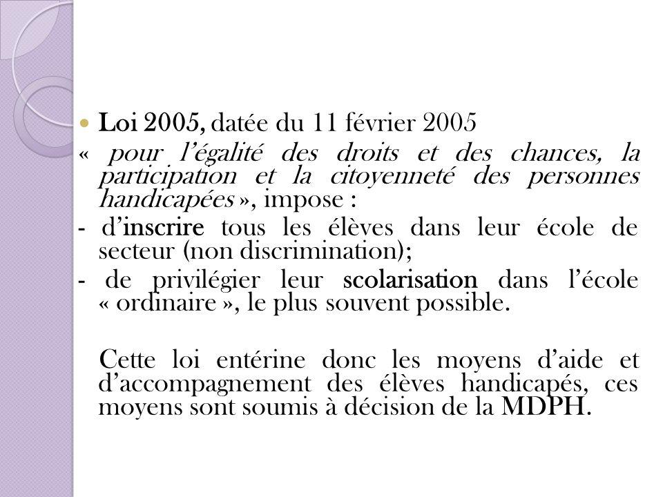 Loi 2005, datée du 11 février 2005