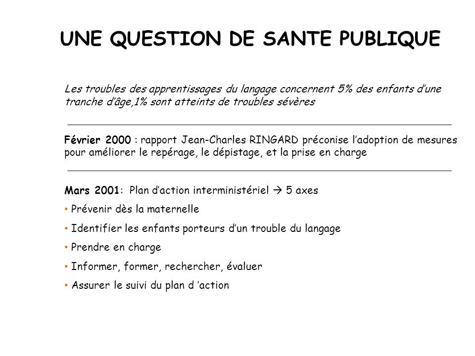 UNE QUESTION DE SANTE PUBLIQUE