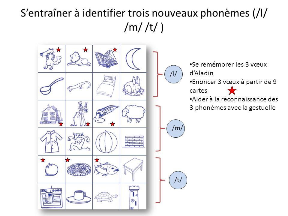 S'entraîner à identifier trois nouveaux phonèmes (/l/ /m/ /t/ )