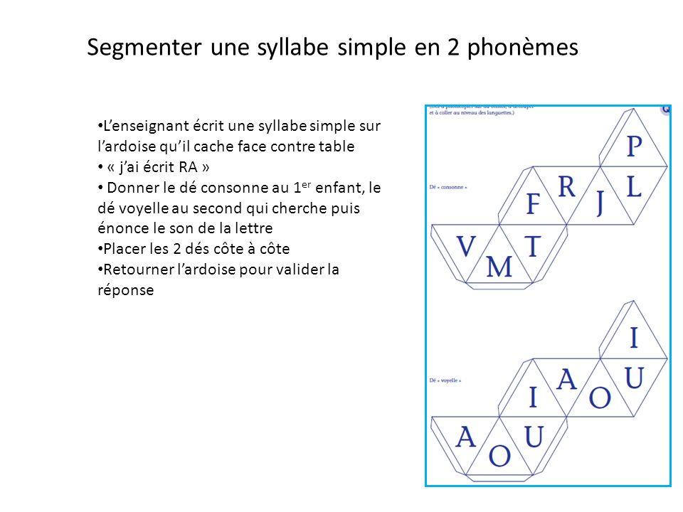 Segmenter une syllabe simple en 2 phonèmes