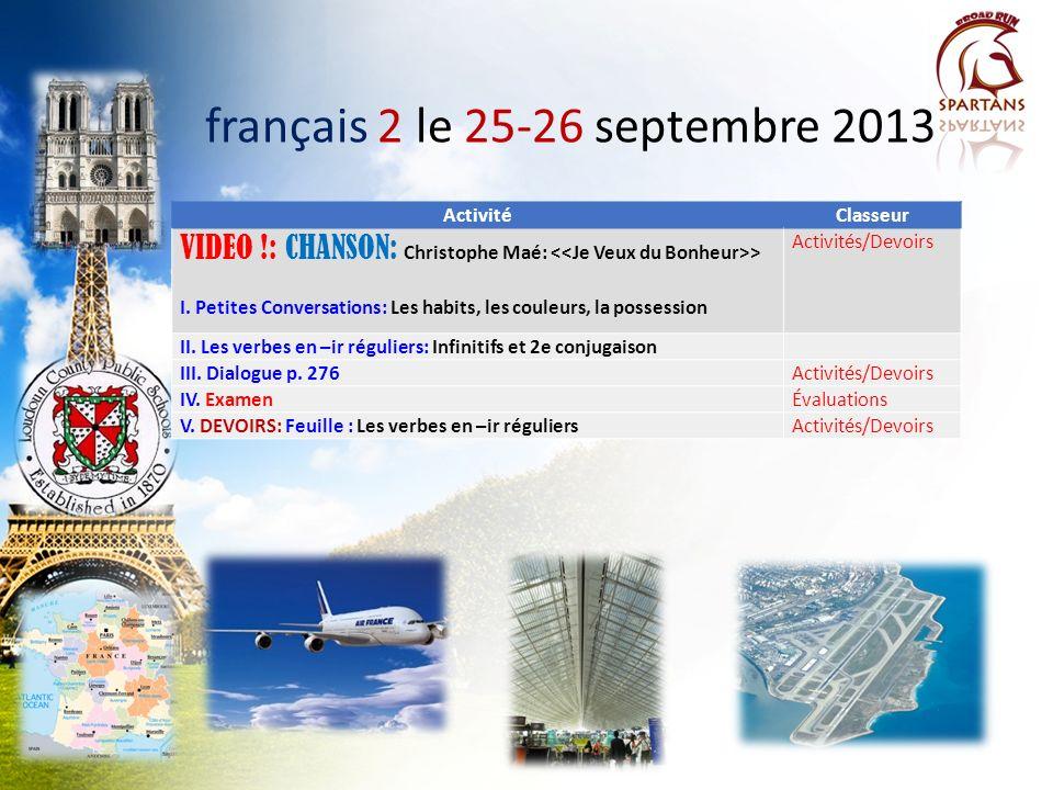 français 2 le 25-26 septembre 2013
