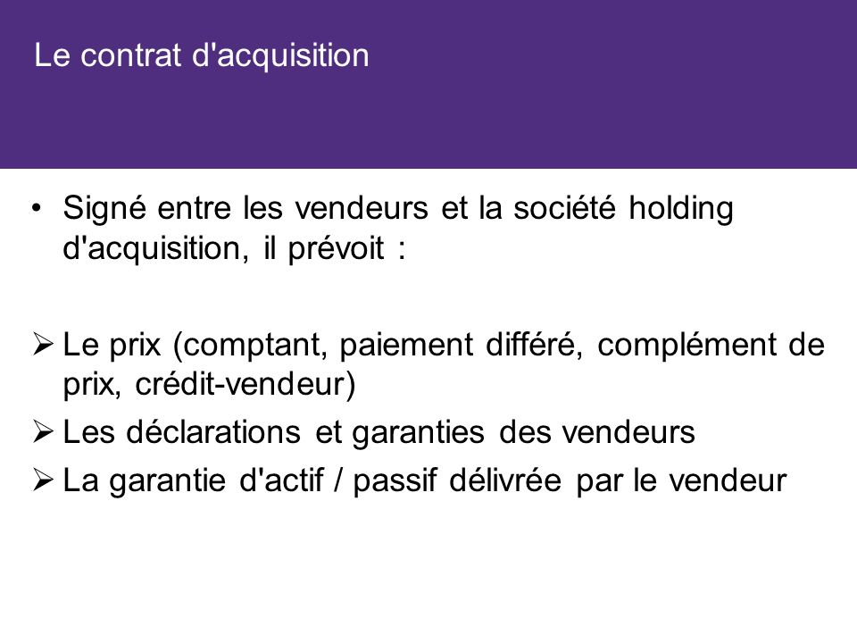 Le contrat d acquisition