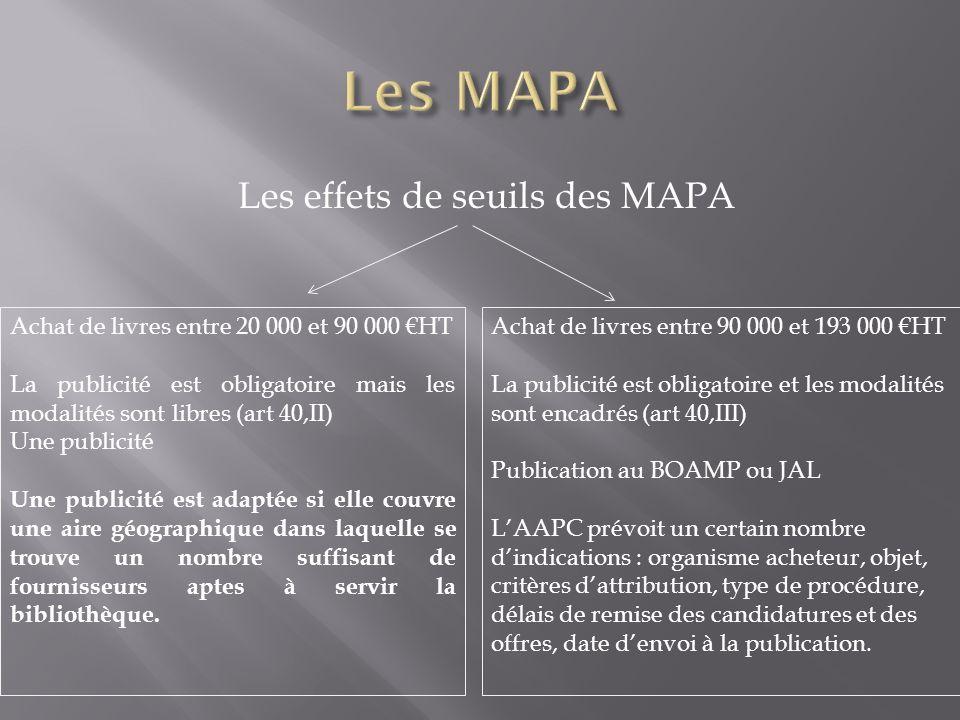 Les effets de seuils des MAPA