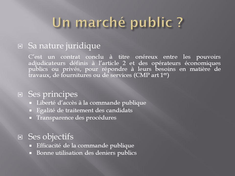 Un marché public Sa nature juridique