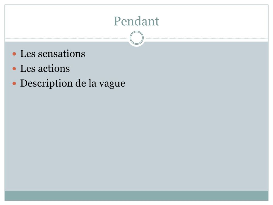 Pendant Les sensations Les actions Description de la vague