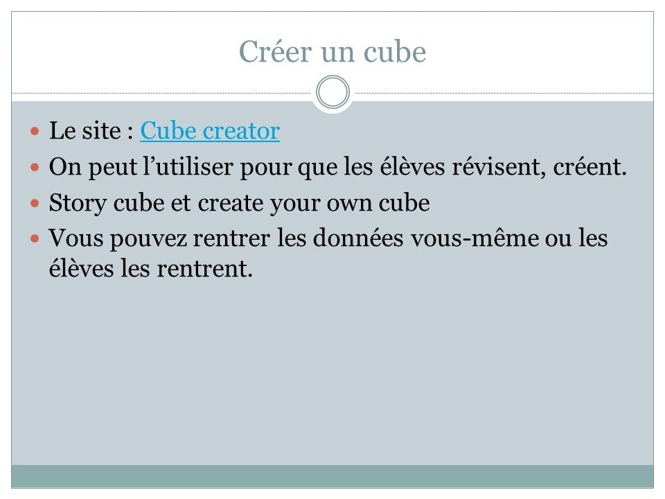 Créer un cube Le site : Cube creator