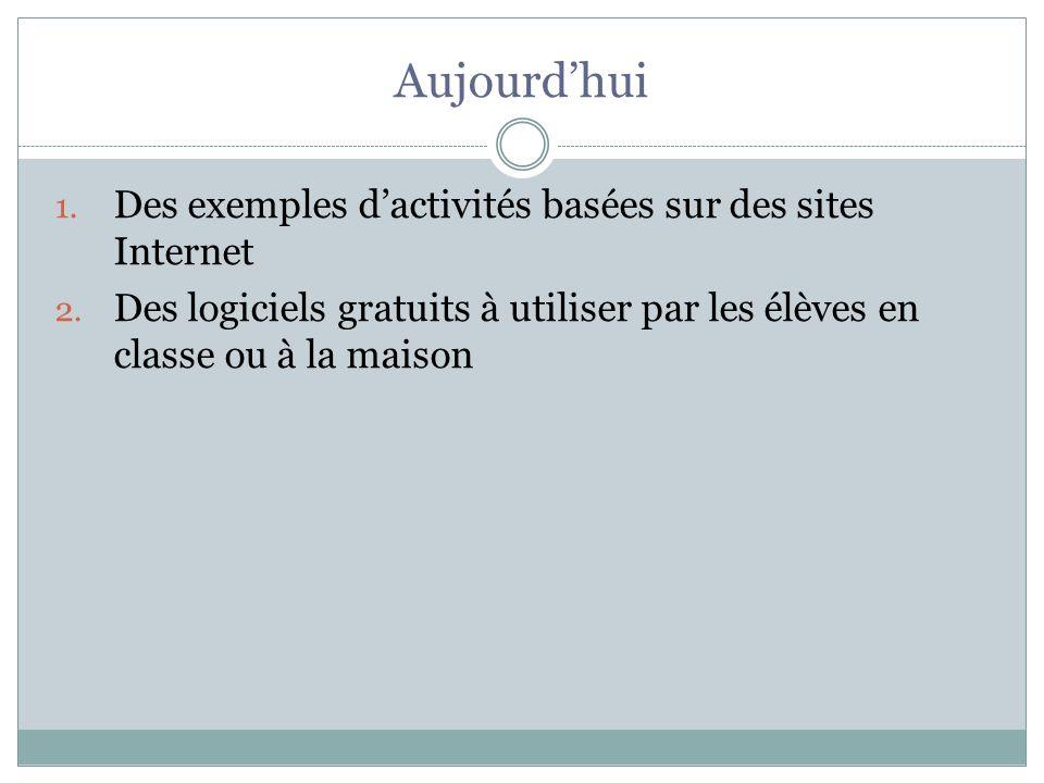 Aujourd'hui Des exemples d'activités basées sur des sites Internet