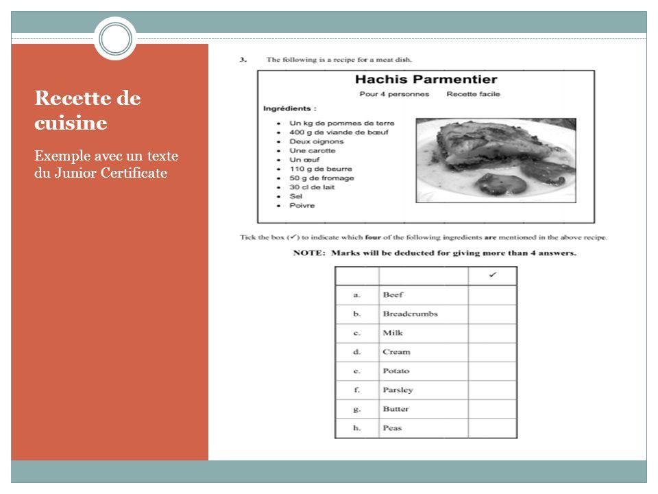 Recette de cuisine Exemple avec un texte du Junior Certificate